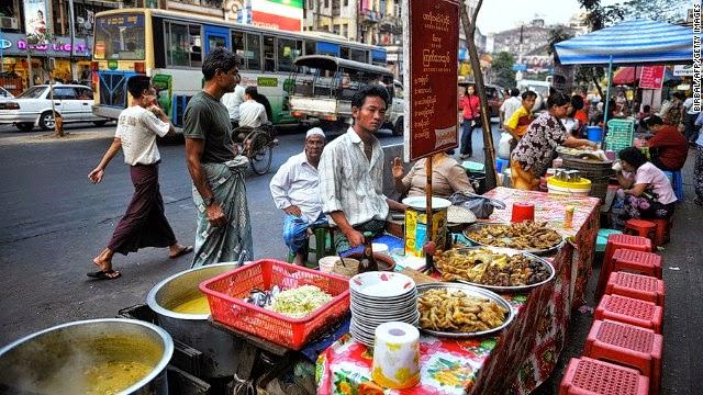 thức ăn đường phố myanmar