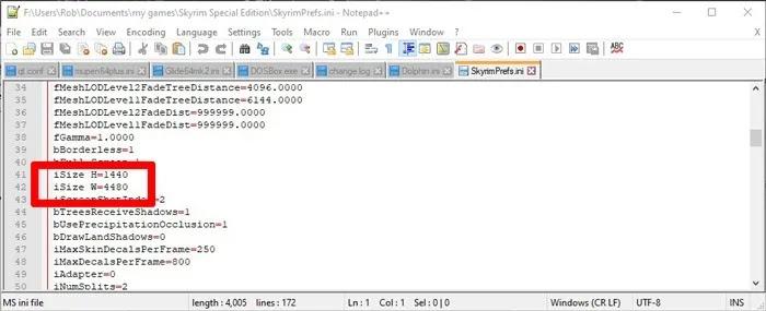 قم بإعداد شاشة مزدوجة للألعاب Windows Skyrimprefs