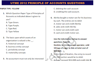 UTME/JAMB 2012 PRINCIPLE OF ACCOUNT QUESTIONS