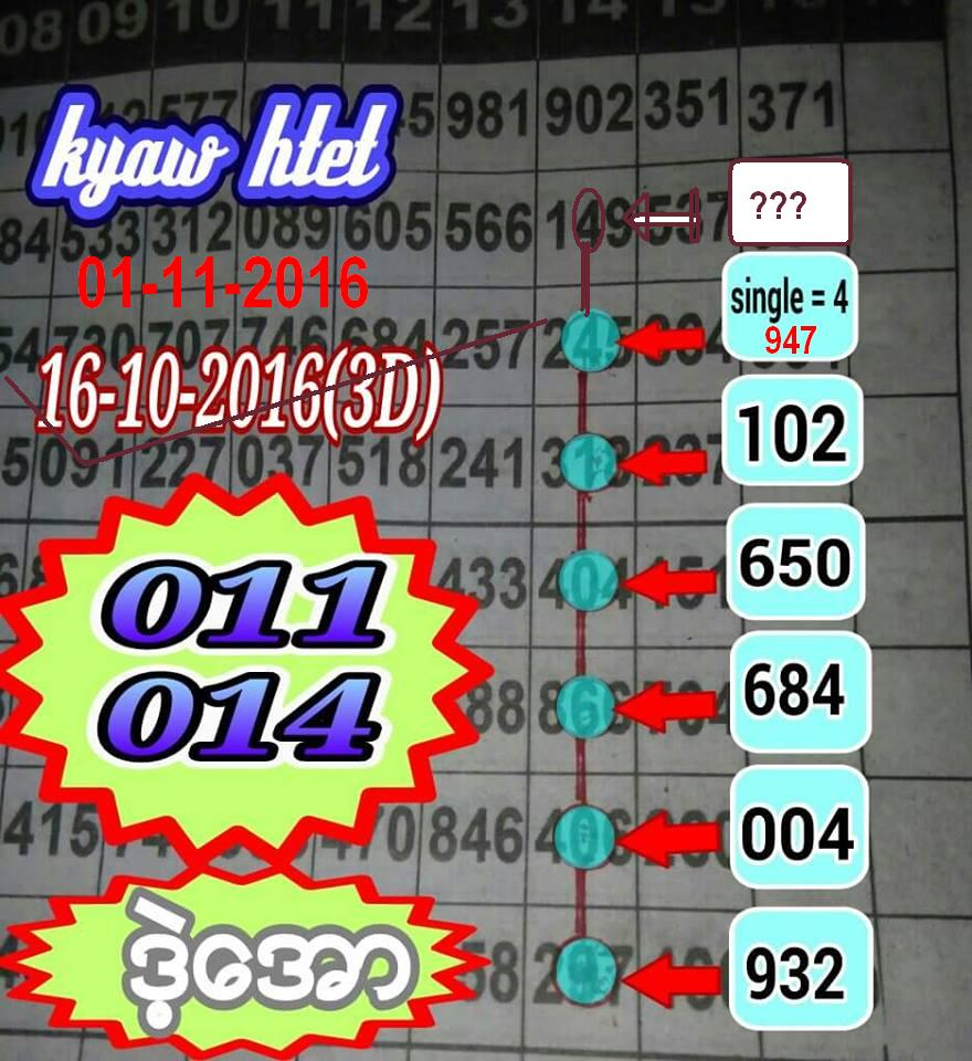 Thai lottery king vip results tips 01 11 2016 my4website thai