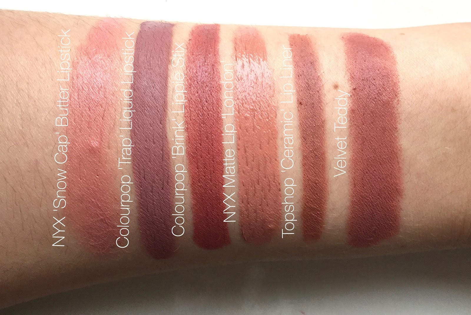 Velvet Teddy cheap, affordable, dupes, mac velvet teddy, nyx lipstick vs velvet teddy, colourpop trap vs kylie lip kit, colourpop trap vs velvet teddy, nyx matte lip london vs velvet teddy, colourpop brink vs velvet teddy,  topshop ceramic lip liner vs velvet teddy