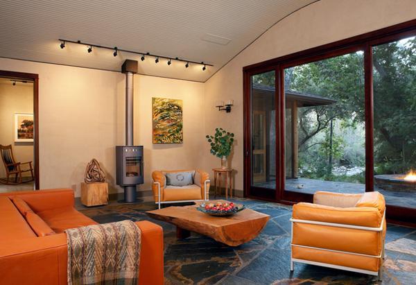 Ruang Tamu Manis Dengan Tema Warna Orange Kursi orange