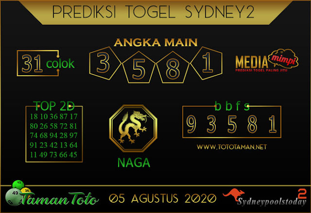 Prediksi Togel SYDNEY 2 TAMAN TOTO 05 AGUSTUS 2020