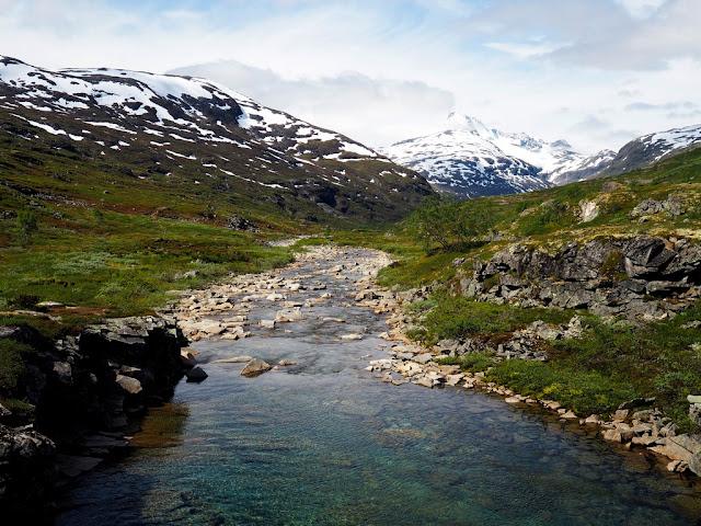 údolí Storutladalen, Norsko, příroda, krásné počasí, sníh, Jotunheimen