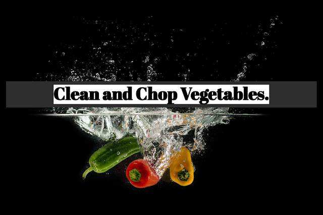 To save time, I usually clean and chop the whole package of vegetables at one time and refrigerate small portions in sealed plastic bags.