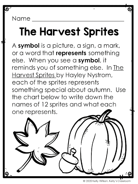 Learn about the signs & symbols of fall with The Harvest Sprites by Hayley Nystrom. Students will match characters of the book to the symbols of fall.