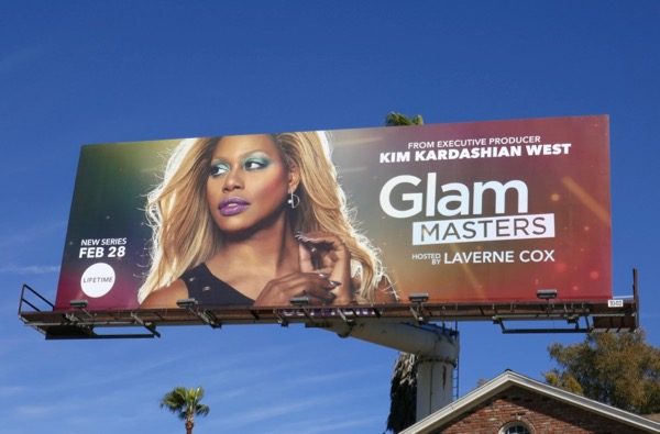 Laverne Cox Glam Masters series launch billboard