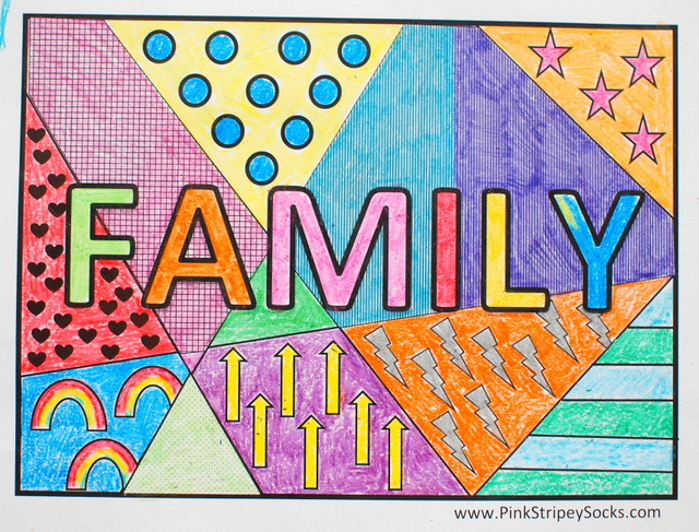 Awesome Free Family Pop Art Coloring Pages  Print And Color With The Kiddos!