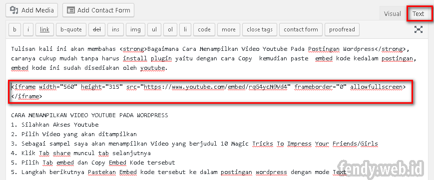 Cara Menampilkan Video Youtube Ke postingan WordPress