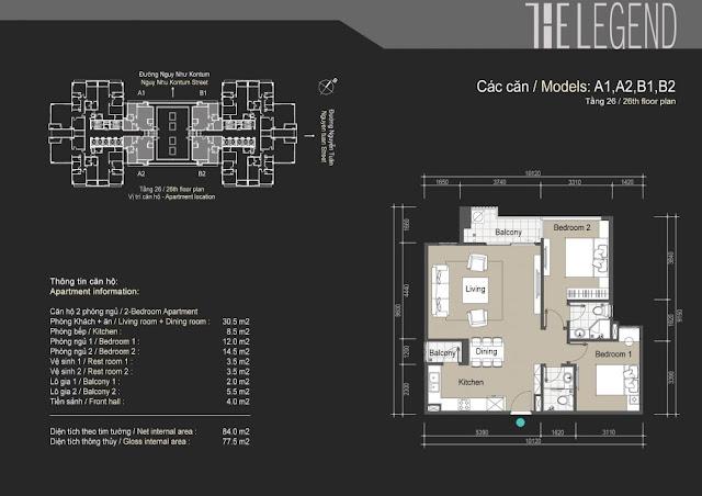 Mặt bằng căn hộ A1 A2 B1 B2 - 77m - The Legend