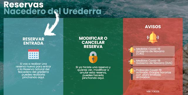 Web de reserva de entrada al Nacedero del Urederra