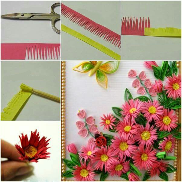 Make a beautiful paper flower show piece crazzy craft for Easy quilling designs step by step