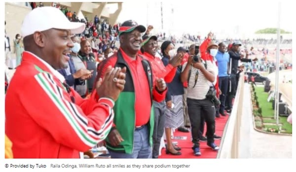 Raila Odinga, William Ruto all smile when they share the podium together