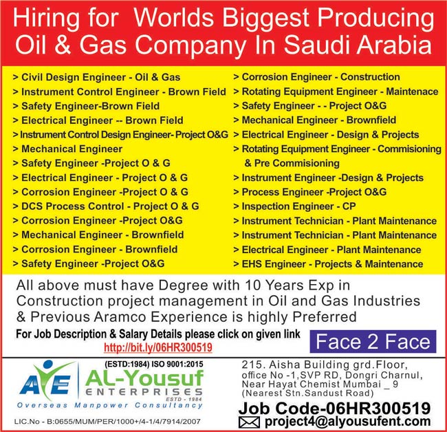 Large Number of Job Vacancies in Oil & Gas (Brownfield) in Saudi