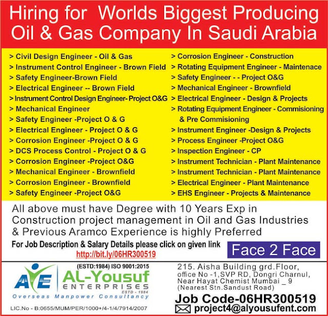 Large Number of Job Vacancies in Oil & Gas (Brownfield) in Saudi Arabia Al Yousuf Enterprises, Dongri - Overseas Placement Services