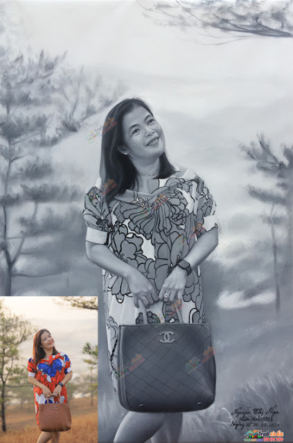 chân dung vẽ đen trắng nghệ thuật