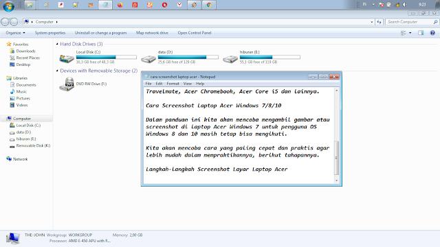 cara screenshot pada laptop acer
