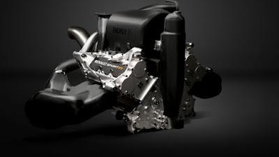 vista anteriore di 3/4 del motore Renault V6 turbo 2014