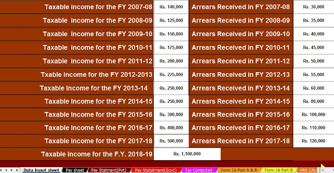 Download Automated Income Tax Arrears Relief Calculator U/s 89(1) with Form 10E from F.Y.2000-01 to F.Y.2018-19 With good News for Senior Citizens in Budget 2018