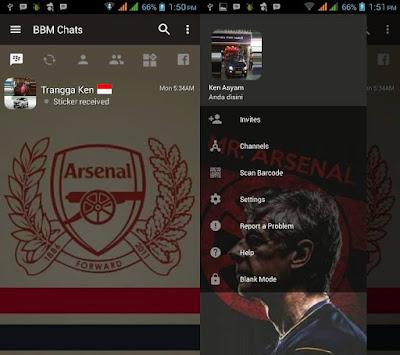 BBM MOD Tema Arsenal Versi Terbaru v3.2.0.6 APK Transparan