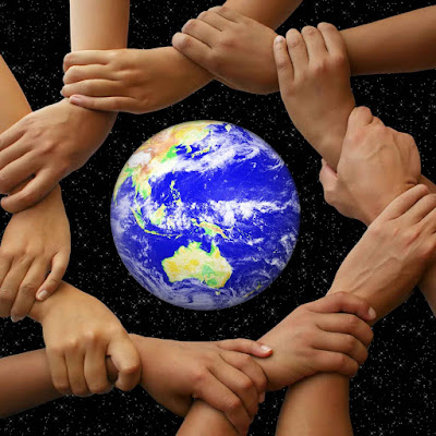 Multi-hands encirlcing Earth