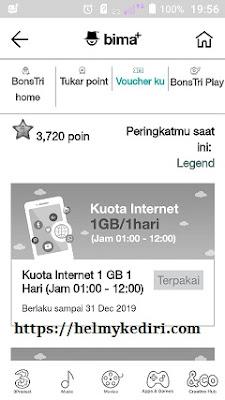 Cara menukarkan poin bonstri dengan kuota internet gratis