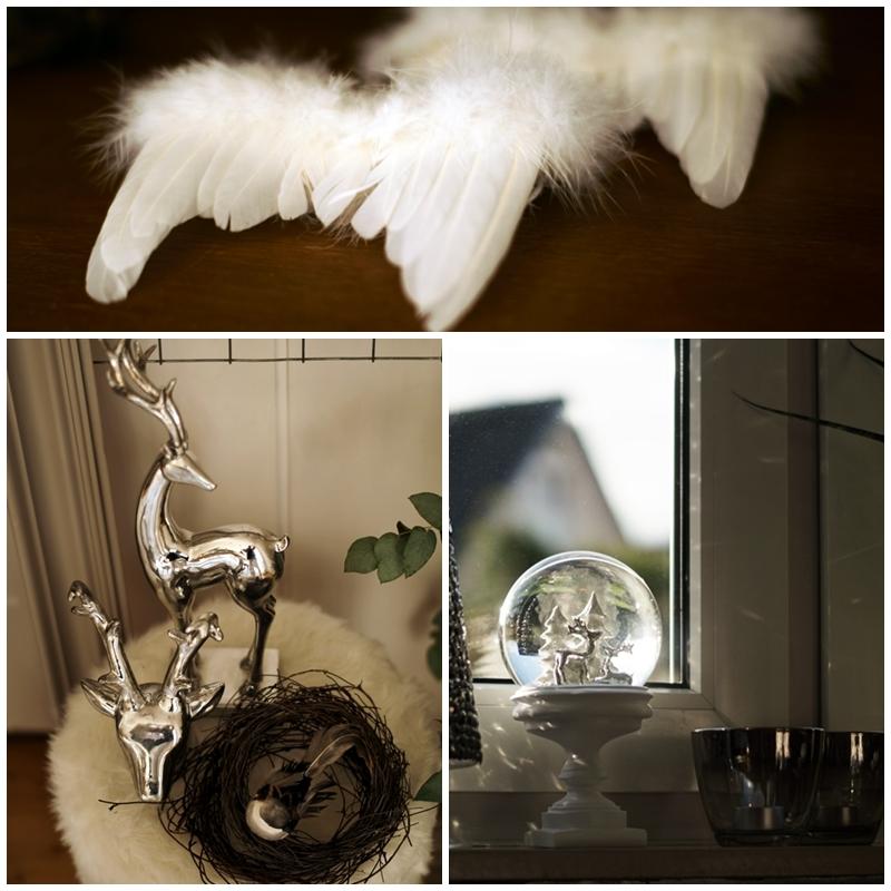 Blog + Fotografie by it's me! - Rooming, Weihnachtsdeko 2015 - Collage Elche, Schneekugel und Flügel aus Federn