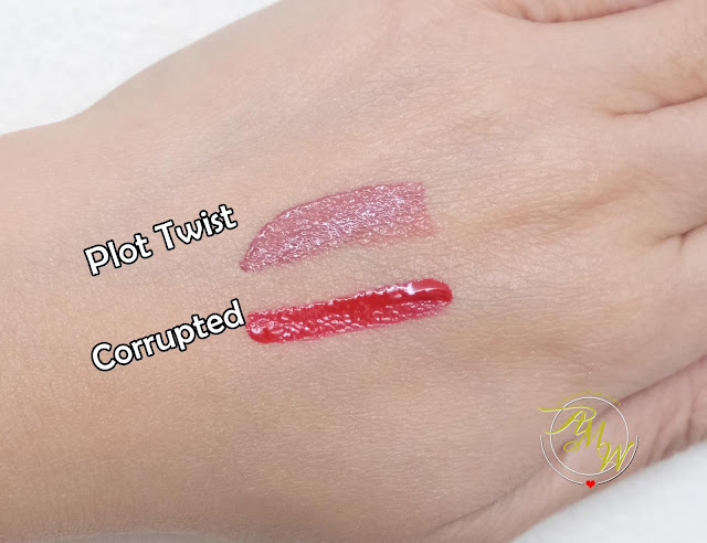 a photo of Sleek Makeup Lip Shot review in shades Plot Twist and Corrupted.