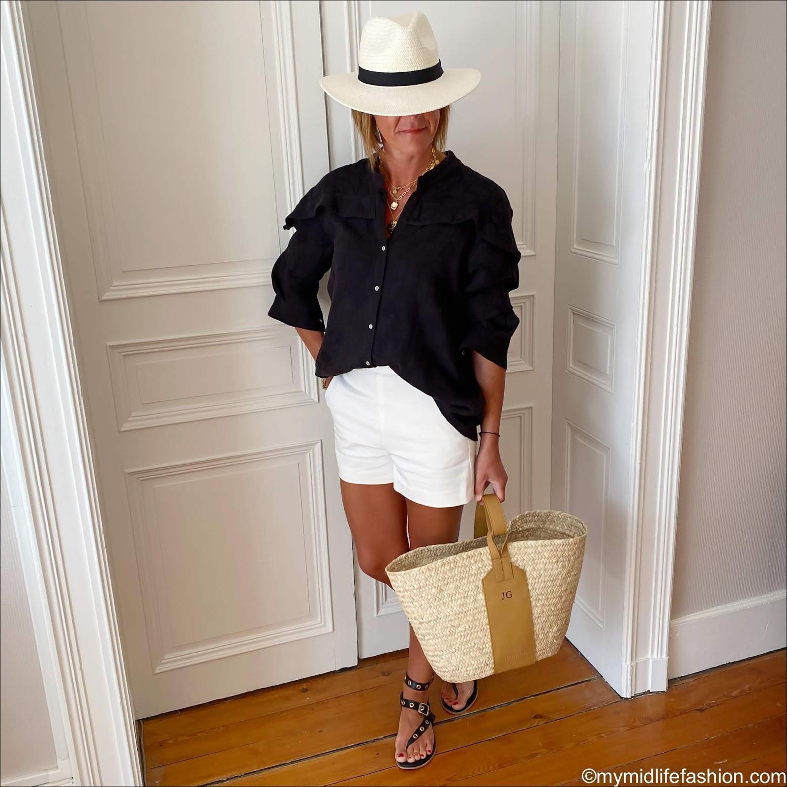 my midlife fashion, Ginette garde alphonse shirt in black linen, zara Panama hat, zara shorts, iro studded sandals, rae feather grace monogrammed basket