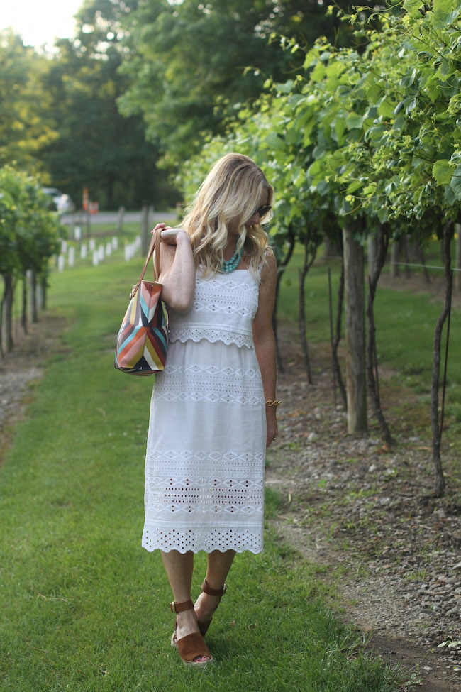 jcrew white dress, marc fisher sandals, tory burch bag