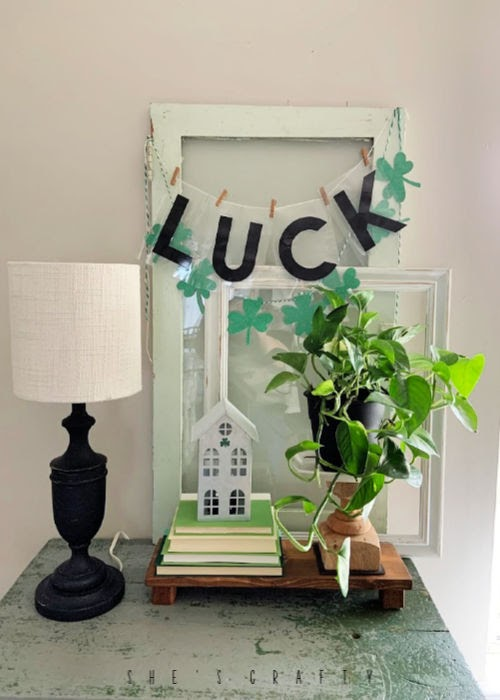 LUCK faux marquee letters - St Patrick's Day vignette | St Patrick's Day home decor