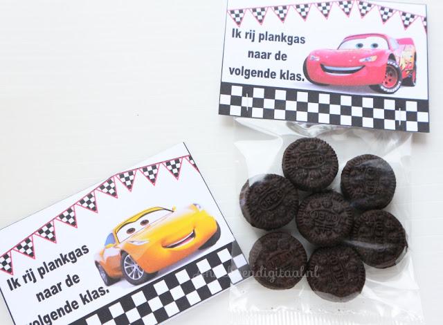 Cars 3 traktatie, traktatie cars zelf maken, makkelijke Cars traktatie, cars printable, gratis printable cars, traktatie met oreo