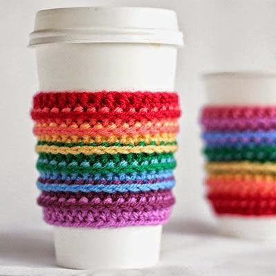 http://crafts.tutsplus.com/tutorials/how-to-crochet-a-rainbow-cup-cozy--craft-16693