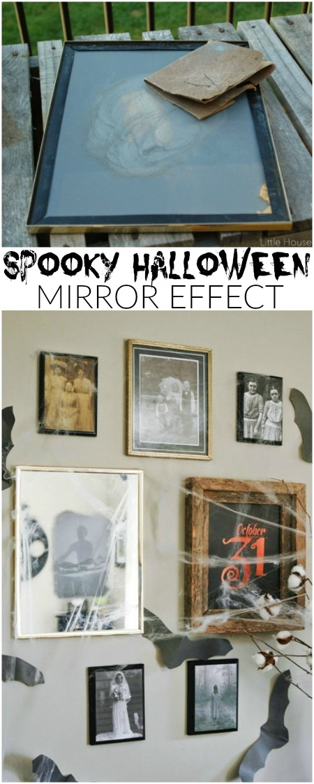 A thrift store mirror and pictures are used to create the perfect spooky Halloween gallery wall. Littlehouseoffour.com
