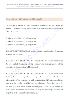 board resolution for constitution of share allotment committee