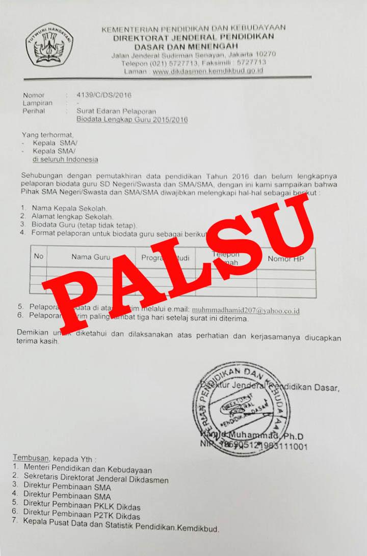 Surat Palsu Atas Nama Kementerian Pendidikan dan Kebudayaan