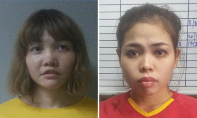 Doan Thi Huong (left) and Siti Aisyah (right), suspects in the death of Kim Jong-nam