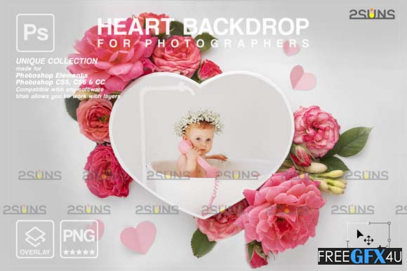 Heart Flower Digital Frames Overlay