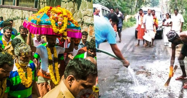 Communal elements throw meat and animal carcasses on the road to desecrate the sacred 'Thiruvabharanam' procession to Sabarimala