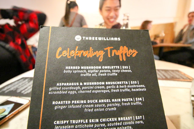 Three Williams Celebrating Truffles Menu
