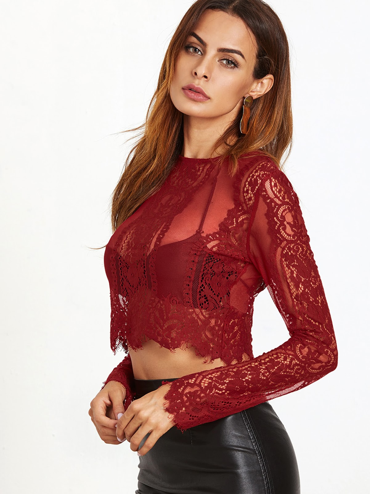 Lace See-through Crop Blouse