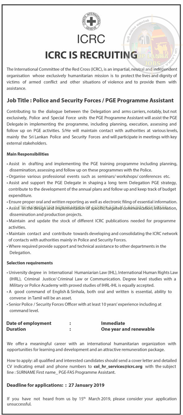 VACANCIES INTERNATIONAL COMMITTEE OF THE RED CROSS – POLICY