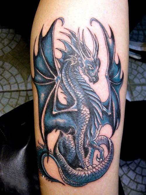 blue dragon tattoos mavi ejderha dövmeleri