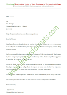 resignation letter format for assistant professor in engineering college