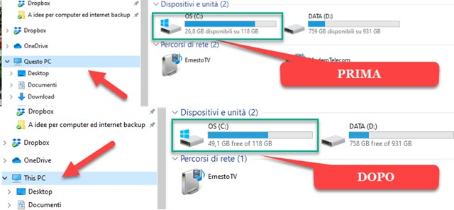 liberare spazio su windows