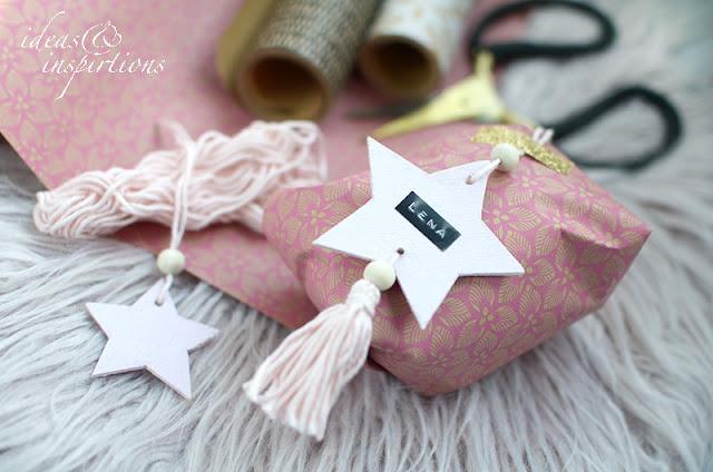 Sterne aus Balsaholz basteln für Geschenke zu Weihnachten
