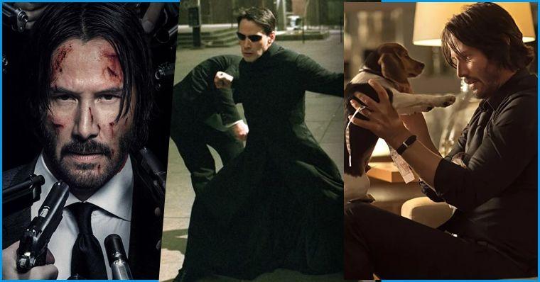 A imagem divide-se em 3 cenas. Q1: Keanu Reeves, com expressão séria e o rosto manchado de sangue, com várias armas apontadas para ele, de várias direções, em John Wick 3; Q2: Kenu como Neo em clássica cena de luta no filme, com óculos escuros, posição de luta (ataque/defesa) e um homem cujo rosto não é mostrado, vindo atacá-lo por trás; Q3: Keanu como John Wick no primeiro filme da saga, com ele à direita, em um sofá, erguendo e olhando para o cãozinho que sua falecida esposa havia deixado para ele