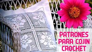 Patrones de Cojín para tejer en Crochet Filet