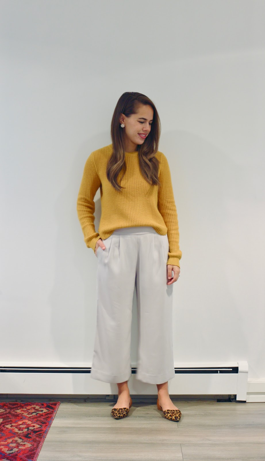 Jules in Flats - Wide Leg Crop Pants with Mustard Sweater (Business Casual Workwear on a Budget)