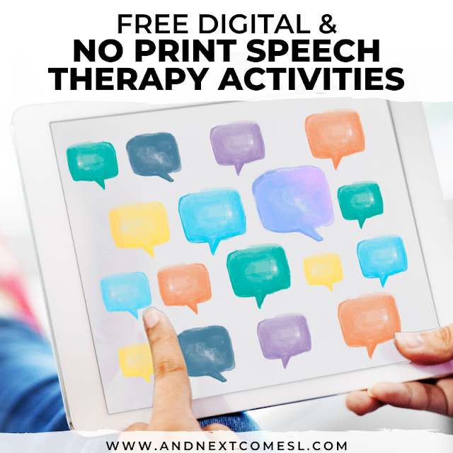 Free digital speech therapy materials and Boom Cards